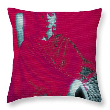 Throw Pillow featuring the mixed media Strange Frida by Michelle Dallocchio