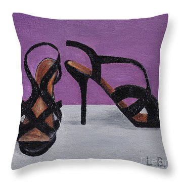 Strappy Black Heels For Maddy Throw Pillow