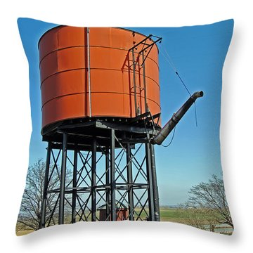 Strasburg Water Tower Throw Pillow by Skip Willits