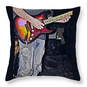 Strat Man  Throw Pillow by Chris Berry
