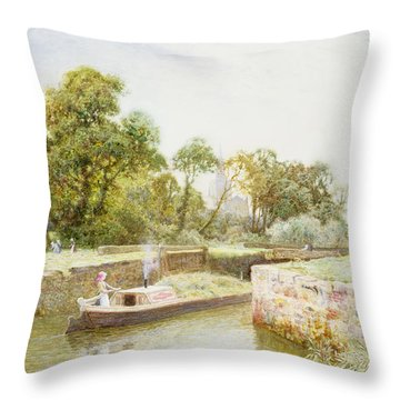 Stratford Lock Throw Pillow by Arthur Claude Strachan