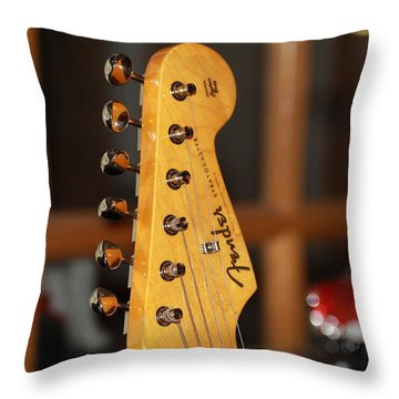 Stratocaster Headstock Throw Pillow by Chris Thomas