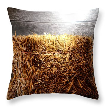 Straw Bale In Old Barn Throw Pillow by Olivier Le Queinec