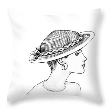 Straw Hat Throw Pillow by Sarah Parks