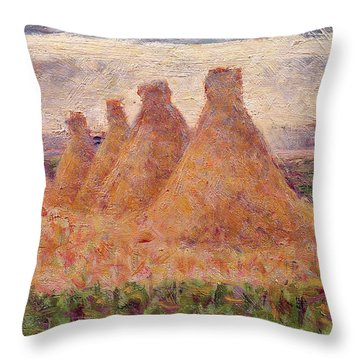 Straw Stacks Throw Pillow by Georges Pierre Seurat