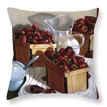 Strawberries And Cream 1997 Throw Pillow by Larry Preston