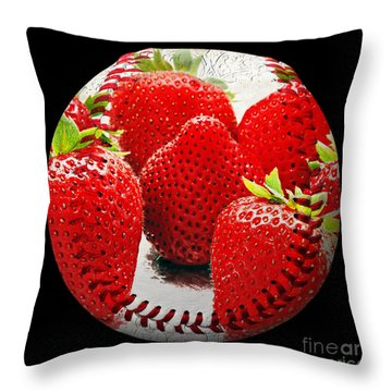 Strawberries Baseball Square Throw Pillow by Andee Design