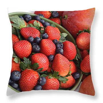 Strawberries Blueberries Mangoes And A Banana - Fruit Tray Throw Pillow by Andee Design
