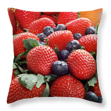 Strawberries Blueberries Mangoes - Fruit - Heart Health Throw Pillow by Andee Design