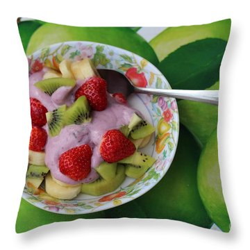 Strawberries Kiwi Banana Yogurt - Fruit - Dessert - Food Throw Pillow by Barbara Griffin
