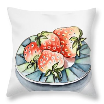 Strawberries On Plate Throw Pillow