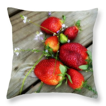 Strawberrries Throw Pillow by Valerie Reeves