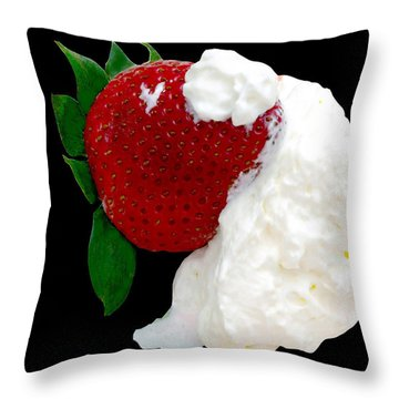 Strawberry And Cream Throw Pillow by Camille Lopez