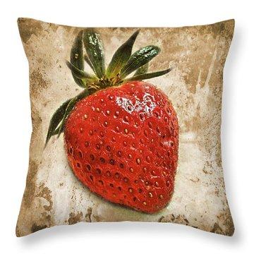 Strawberry  Throw Pillow by Barbara Orenya