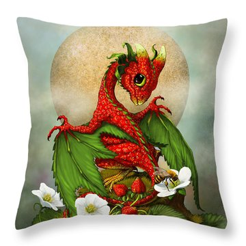 Strawberry Dragon Throw Pillow