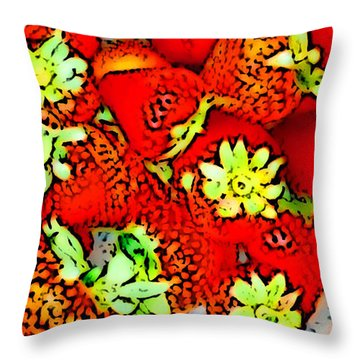 Throw Pillow featuring the digital art Strawberry Field by Gayle Price Thomas