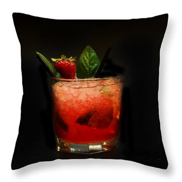 Strawberry Mojito Throw Pillow