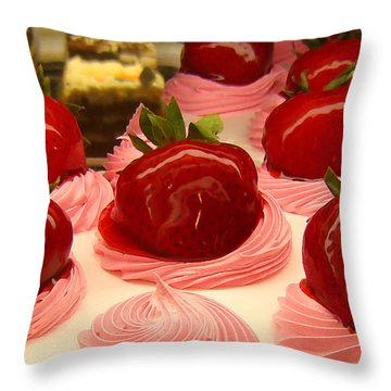 Strawberry Mousse Throw Pillow by Amy Vangsgard