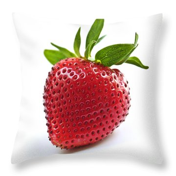 Strawberry On White Background Throw Pillow by Elena Elisseeva
