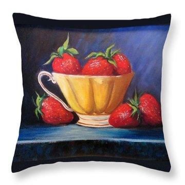 Strawberry Teacup Throw Pillow