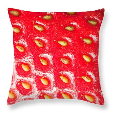 Strawberry Texture Throw Pillow by Sharon Dominick