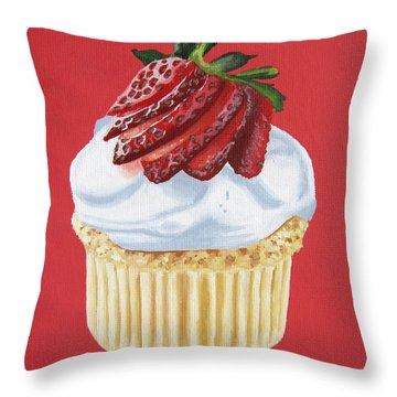 Strawberry White Throw Pillow