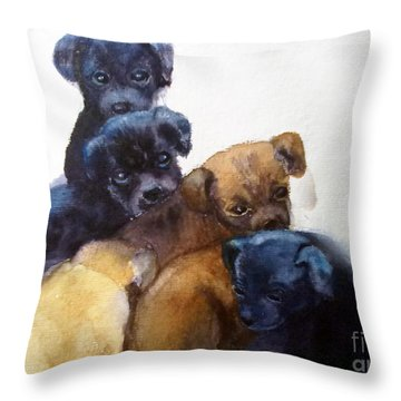 Stray Puppies Throw Pillow