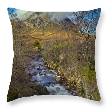 Stream Below Buachaille Etive Mor Throw Pillow