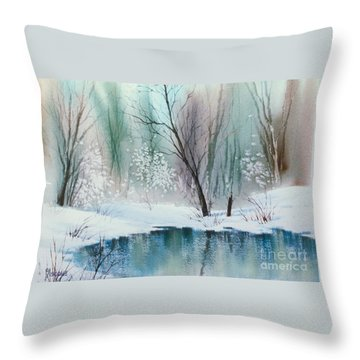 Stream Cove In Winter Throw Pillow