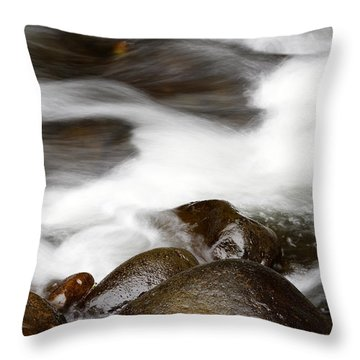 Stream Flowing  Throw Pillow by Les Cunliffe