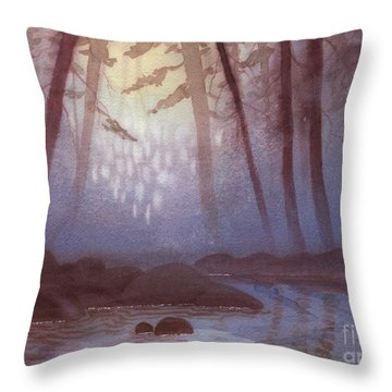 Stream In Mist Throw Pillow
