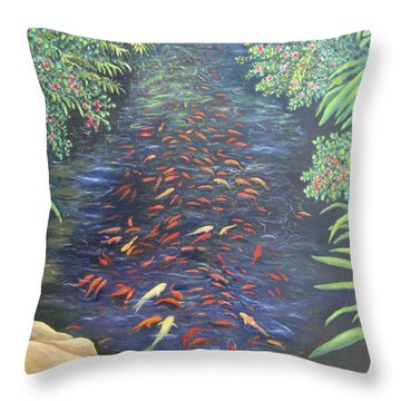 Throw Pillow featuring the painting Stream Of Koi by Karen Zuk Rosenblatt