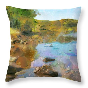 Throw Pillow featuring the painting Stream Serene by Wayne Pascall