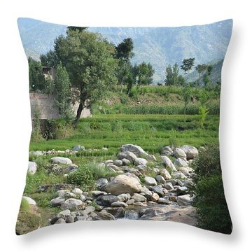 Stream Trees House And Mountains Swat Valley Pakistan Throw Pillow by Imran Ahmed