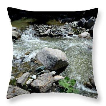 Throw Pillow featuring the photograph Stream Water Foams And Rushes Past Boulders by Imran Ahmed