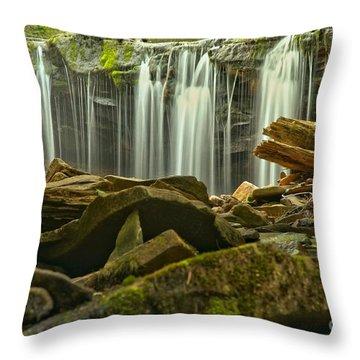 Streaming Toward The Rocks Throw Pillow
