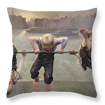 Street Arabs At Play Throw Pillow by Dorothy Stanley