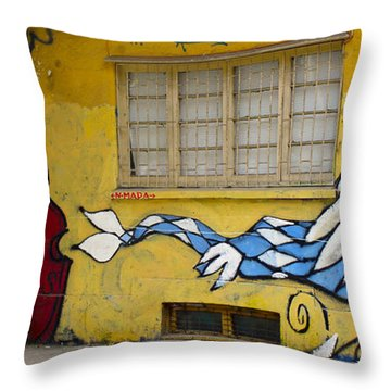 Street Art Valparaiso Chile 12 Throw Pillow by Kurt Van Wagner
