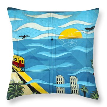 Street Art Valparaiso Chile 13 Throw Pillow by Kurt Van Wagner