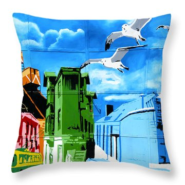 Street Art Valparaiso Chile 15 Throw Pillow by Kurt Van Wagner