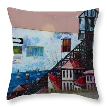 Street Art Valparaiso Chile 17 Throw Pillow by Kurt Van Wagner