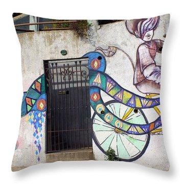 Street Art Valparaiso Chile Throw Pillow by Kurt Van Wagner