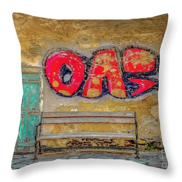 Street Bench Throw Pillow