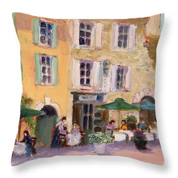 Street Cafe Throw Pillow