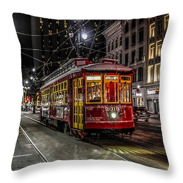 Street Car In New Orleans At Night Throw Pillow