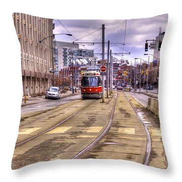 Street Car On Lakeshore Throw Pillow