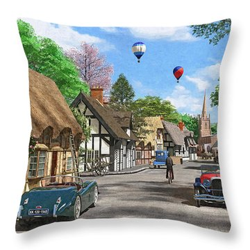 Street Cottage Lane Throw Pillow by Dominic Davison