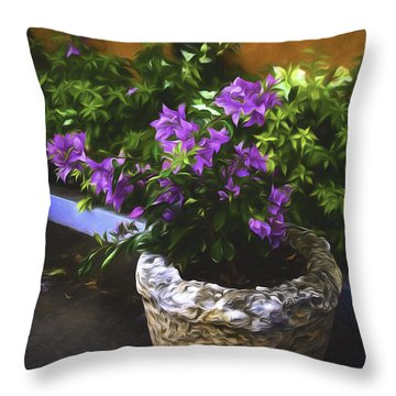 Throw Pillow featuring the photograph Street Flowers  ... by Chuck Caramella