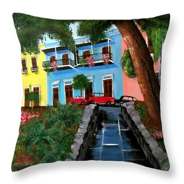 Street Hill In Old San Juan Throw Pillow