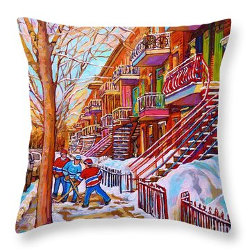 Street Hockey Game In Montreal Winter Scene With Winding Staircases Painting By Carole Spandau Throw Pillow by Carole Spandau